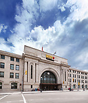 VIA Rail Canada Union Station and Winnipeg Railway Museum building front view. Main street, Winnipeg, Manitoba, Canada 2017.