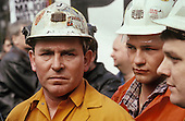 Miners from Houghton Main colliery, in South Yorkshire, now closed, march through London to protest at planned pit closures.