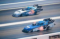 Nov 3, 2019; Las Vegas, NV, USA; NHRA funny car driver Steven Densham (near) alongside John Force during the Dodge Nationals at The Strip at Las Vegas Motor Speedway. Mandatory Credit: Mark J. Rebilas-USA TODAY Sports