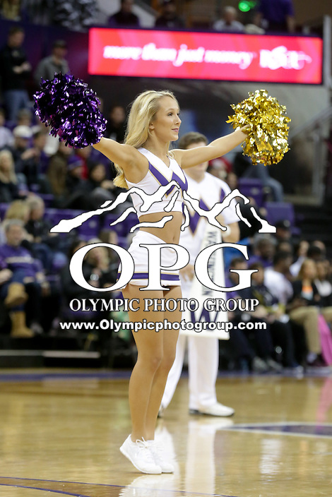 Dec 19, 2015:  Washington cheerleader Veronica Stulz entertained fans during a timeout against Oakland.  Oakland defeated Washington 97-83 at Alaska Airlines Arena in Seattle, WA.