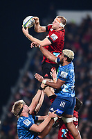 11th July 2020, Christchurch, New Zealand;  Mitchell Dunshea of the Crusaders takes a lineout from Hoskins Sotutu of the Blues during the Super Rugby Aotearoa, Crusaders versus Blues, at Orangetheory Stadium, Christchurch