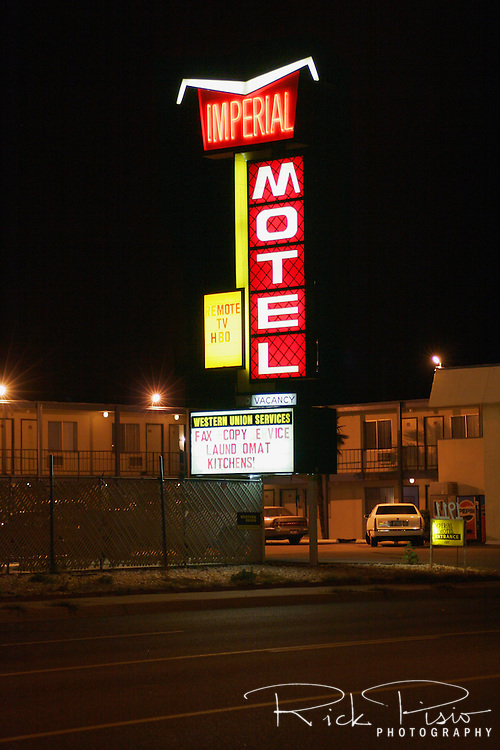 The Imperial Motel in Kingman Arizona. The neon sign of the motels and diners along Route 66 beckoned travelers along their journey.