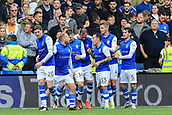 1st October 2017, Hillsborough, Sheffield, England; EFL Championship football, Sheffield Wednesday versus Leeds United; Gary Hooper of Sheffield Wednesday celebrates his second goal in the 41st minute to make it 2-0