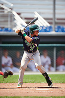 Vermont Lake Monsters catcher Brett Sunde (24) at bat during a game against the Auburn Doubledays on July 13, 2016 at Falcon Park in Auburn, New York.  Auburn defeated Vermont 8-4.  (Mike Janes/Four Seam Images)
