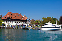 DEU, Deutschland, Baden-Wuerttemberg, Bodensee, Konstanz: Konzilgebaeude, Schiffsanalegestelle, Ausflugsschiff | DEU, Germany, Baden-Wuerttemberg, Lake Constance, Constance: Mercantile House at the Harbour, landing stage, excursion boat