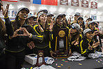 COLLEGE STATION, TX - MARCH 11: Oregon women's track and field team celebrate a National Championship during the Division I Men's and Women's Indoor Track & Field Championship held at the Gilliam Indoor Track Stadium on the Texas A&M University campus on March 11, 2017 in College Station, Texas. (Photo by Michael Starghill/NCAA Photos/NCAA Photos via Getty Images)