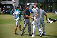 Eric Axley (USA) shakes hands with Jimmy Walker (USA) following round 3 of the AT&amp;T Byron Nelson, Trinity Forest Golf Club, at Dallas, Texas, USA. 5/19/2018.<br /> Picture: Golffile | Ken Murray<br /> <br /> <br /> All photo usage must carry mandatory copyright credit (&copy; Golffile | Ken Murray)