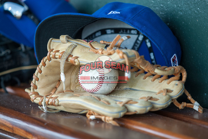 Baseball and glove on May 18, 2016 at Dow Diamond in Midland, Michigan. (Andrew Woolley/Four Seam Images)