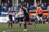 Cameron McGeehan of Luton Town (right) shows his frustration after not being awarded a penalty during the Sky Bet League 2 match between Luton Town and Crawley Town at Kenilworth Road, Luton, England on 12 March 2016. Photo by David Horn/PRiME Media Images.