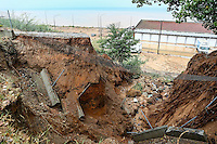 Theground beneath a building has subsided in Nea Mihaniona