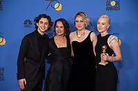 For BEST MOTION PICTURE &ndash; COMEDY OR MUSICAL, the Golden Globe is awarded to &quot;Lady Bird,&quot; directed by Greta Gerwig. Timothee Chalamet, Laurie Metcalf, Greta Gerwig and Saoirse Ronan pose with the award backstage in the press room at the 75th Annual Golden Globe Awards at the Beverly Hilton in Beverly Hills, CA on Sunday, January 7, 2018.<br /> *Editorial Use Only*<br /> CAP/PLF/HFPA<br /> &copy;HFPA/PLF/Capital Pictures