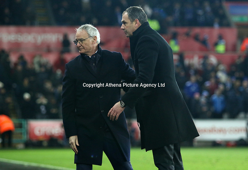 Leicester City manager Claudio Ranieri and Swansea City manager Paul Clement after the final whistle of the Premier League match between Swansea City and Leicester City at The Liberty Stadium, Swansea, Wales, UK. Sunday 12 February 2017