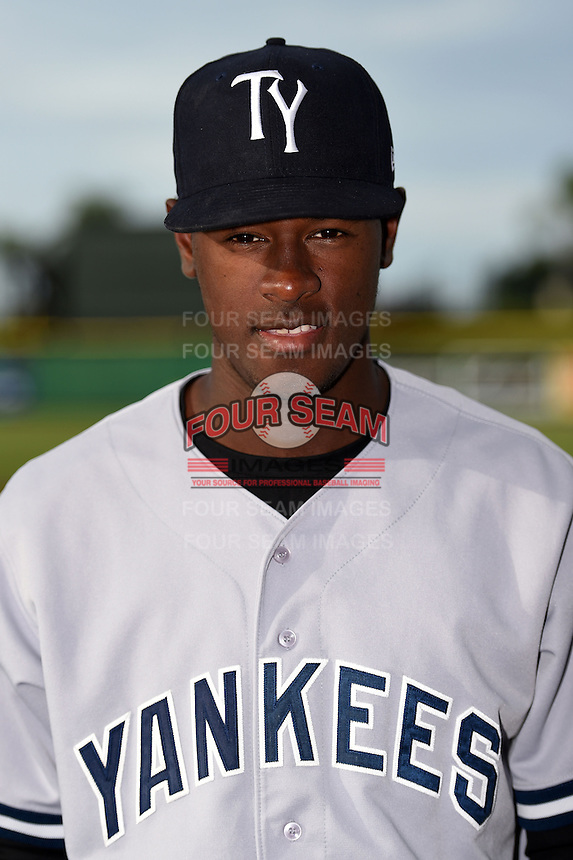 Tampa Yankees pitcher Luis Severino (27) poses for a photo before a game against the Clearwater Threshers on June 26, 2014 at Bright House Field in Clearwater, Florida.  Clearwater defeated Tampa 4-3.  (Mike Janes/Four Seam Images)