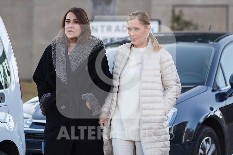 Spanish politic Cristina Cifuentes arrived to the wake of Bimba Bose at the La Paz tannery in Madrid. Spain. January 24th 2017. (ALTERPHOTOS/Rodrigo Jimenez)