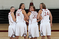 STANFORD, CA - SEPTEMBER 28:  Hannah Donaghe, Ashley Cimino, Jeanette Pohlen, and Kayla Pedersen during picture day on September 28, 2009 at Maples Pavilion in Stanford, California.