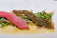 Vienna, Austria. The &quot;Steirereck&quot; with award winning Chef Heinz Reitbauer Junior is probably Vienna's best restaurant.<br /> Schneebergland Ente mit gebratenem Sprossensalat, schwarzem Rettich &amp; Erdnuss (&sbquo;Schneebergland&rsquo; Duck with Saut&eacute;d Sprouts, Black Radish and Peanut.)