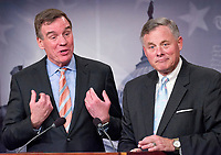 United States Senator Richard Burr (Republican of North Carolina), Chairman, US Senate Select Committee on Intelligence, holds a joint press conference with US Senator Mark Warner (Democrat of Virginia), Vice Chairman, US Senate Select Committee on Intelligence, in the US Capitol to discuss the upcoming committee hearings on Russian intelligence activities in the US and around the world on Wednesday, March 29, 2017. Photo Credit: Ron Sachs/CNP/AdMedia