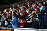 Manchester City fans applaud their team during the Barclays Premier League match between Swansea City and Manchester City played at The Liberty Stadium, Swansea on 15th May 2016