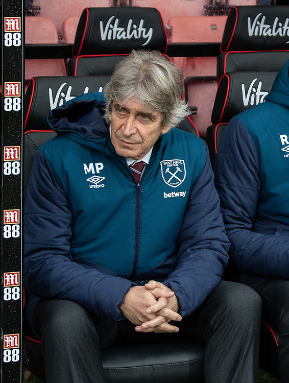 West Ham United manager Manuel Pellegrini <br /> <br /> Photographer David Horton/CameraSport<br /> <br /> The Premier League - Bournemouth v West Ham United - Saturday 19 January 2019 - Vitality Stadium - Bournemouth<br /> <br /> World Copyright &copy; 2019 CameraSport. All rights reserved. 43 Linden Ave. Countesthorpe. Leicester. England. LE8 5PG - Tel: +44 (0) 116 277 4147 - admin@camerasport.com - www.camerasport.com