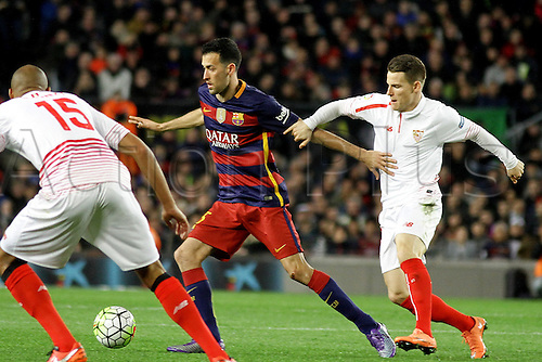 28.02.2016. Nou Camp, Barcelona, Spain. La Liga football match Barcelona versus Sevilla. Busquets in action during the match