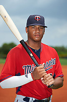 GCL Twins second baseman Ricky De La Torre (70) poses for a photo after the first game of a doubleheader against the GCL Rays on July 18, 2017 at Charlotte Sports Park in Port Charlotte, Florida.  GCL Twins defeated the GCL Rays 11-5 in a continuation of a game that was suspended on July 17th at CenturyLink Sports Complex in Fort Myers, Florida due to inclement weather.  (Mike Janes/Four Seam Images)