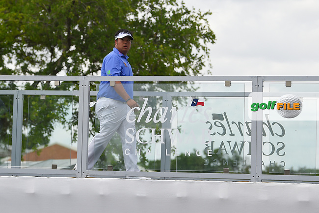 Kiradech Aphibarnrat (THA) heads for the tee on 1 during round 1 of the 2019 Charles Schwab Challenge, Colonial Country Club, Ft. Worth, Texas,  USA. 5/23/2019.<br /> Picture: Golffile | Ken Murray<br /> <br /> All photo usage must carry mandatory copyright credit (© Golffile | Ken Murray)