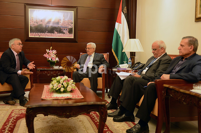 Palestinian President, Mahmoud Abbas (Abu Mazen) meets with the Russian envoy to the peace process, in the West Bank city of Ramallah, on 14 July 2015. Koenders is on a visit to the West Bank. Photo by Thaer Ganaim