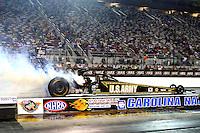 Sep 13, 2013; Charlotte, NC, USA; NHRA top fuel dragster driver Tony Schumacher during qualifying for the Carolina Nationals at zMax Dragway. Mandatory Credit: Mark J. Rebilas-