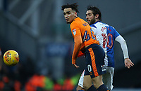 Oldham Athletic's Kean Bryan and Blackburn Rovers' Danny Graham<br /> <br /> Photographer Stephen White/CameraSport<br /> <br /> The EFL Sky Bet League One - Blackburn Rovers v Oldham Athletic - Saturday 10th February 2018 - Ewood Park - Blackburn<br /> <br /> World Copyright &copy; 2018 CameraSport. All rights reserved. 43 Linden Ave. Countesthorpe. Leicester. England. LE8 5PG - Tel: +44 (0) 116 277 4147 - admin@camerasport.com - www.camerasport.com