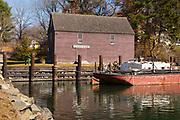 The John Hancock Warehouse and  Wharf located in York, Maine USA which is part of the New England seacoast.