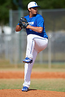 Illinois College Blueboys relief pitcher D.J. Ramos (39) delivers a pitch during a game against the Edgewood Eagles on March 14, 2017 at Terry Park in Fort Myers, Florida.  Edgewood defeated Illinois College 11-2.  (Mike Janes/Four Seam Images)