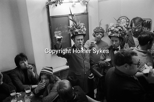 Haxey Hood Game. Haxey, Lincolnshire. England. Singing traditional Haxey Hood folk songs.  <br />