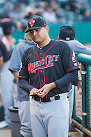 Nashville Sounds pitcher Arnold Leon (26) in the dugout during a game against the Oklahoma City Dodgers at Chickasaw Bricktown Ballpark on April 15, 2015 in Oklahoma City, Oklahoma. Oklahoma City won 6-5. (William Purnell/Four Seam Images)