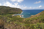 Hawaii: Molokai, scenic view of Halawa Valley..Photo himolo127-72447.Photo copyright Lee Foster, www.fostertravel.com, lee@fostertravel.com, 510-549-2202