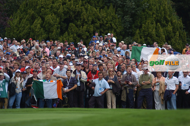 24th September, 2006. A section of the crowd during the singles final session of the last day of the 2006 Ryder Cup at the K Club in Straffan, County Kildare in the Republic of Ireland..Photo: Barry Cronin/ Newsfile.