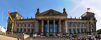 Berlin, Germany. Panorama view. The Reichstag building was opened in 1894 and closed in 1933 after a severe fire. After restoration it has after 1999 again been a meeting place for the German Parliament, the Bundestag.