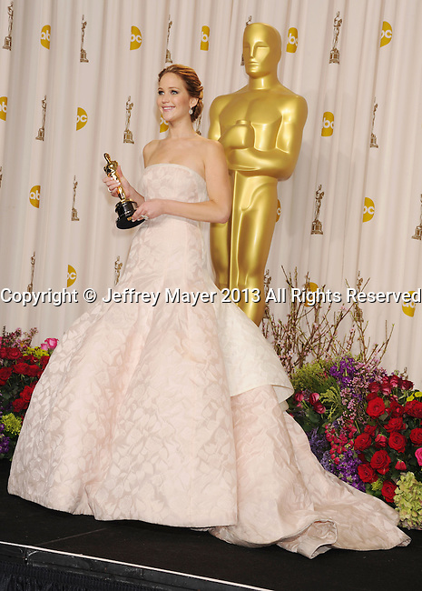 HOLLYWOOD, CA - FEBRUARY 24: Jennifer Lawrence poses in the press room during the 85th Annual Academy Awards at the Loews Hollywood Hotel on February 24, 2013 in Hollywood, California.