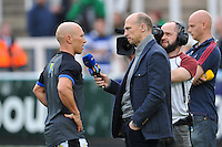 Peter Stringer of Bath Rugby is interviewed by Matt Dawson for BT Sport. Aviva Premiership match, between Newcastle Falcons and Bath Rugby on April 10, 2015 at Kingston Park in Newcastle upon Tyne, England. Photo by: Patrick Khachfe / Onside Images