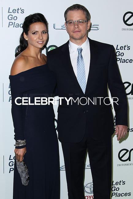 BURBANK, CA - OCTOBER 19: Actor Matt Damon and wife Luciana Barroso arrive at the 23rd Annual Environmental Media Awards held at Warner Bros. Studios on October 19, 2013 in Burbank, California. (Photo by Xavier Collin/Celebrity Monitor)