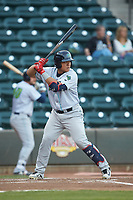 Li-Jen Chu (27) of the Lynchburg Hillcats at bat against the Winston-Salem Dash at BB&T Ballpark on May 3, 2018 in Winston-Salem, North Carolina. The Dash defeated the Hillcats 5-3. (Brian Westerholt/Four Seam Images)