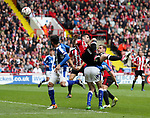 Daniel Lafferty of Sheffield United in the air during the English League One match at Bramall Lane Stadium, Sheffield. Picture date: April 30th, 2017. Pic credit should read: Jamie Tyerman/Sportimage