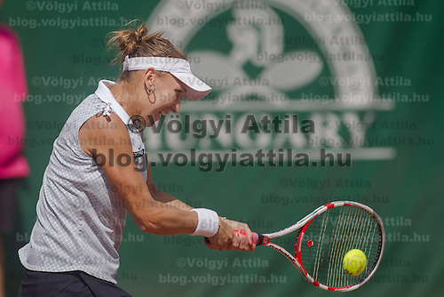 Elena Vesnina of Russia plays a loosing final against Sara Errani of Italy (not pictured) during the WTA tour Budapest Grand Prix international women tennis competition held in Budapest, Hungary on May 5, 2012. ATTILA VOLGYI