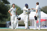 Keith Barker  fist bumps Tom Helm at the conclusion of the fixture as Joe Weatherley looks on during Middlesex CCC vs Hampshire CCC, Bob Willis Trophy Cricket at Radlett Cricket Club on 11th August 2020