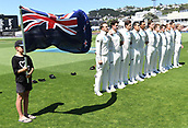 1st December 2017, Basin Reserve, Wellington, New Zealand; International Test Cricket, Day 1, New Zealand versus West Indies;  New Zealand team during the national anthem