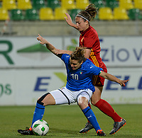 20180307 - LARNACA , CYPRUS : Italian Cristiana Girelli (left) pictured in a duel with Spanish Alexia Putellas Segura (right) during a women's soccer game between Italy and Spain , on wednesday 7 March 2018 at the AEK Arena in Larnaca , Cyprus . This is the final game for the first place  for  Italy and  Spain on the Cyprus Womens Cup , a prestigious women soccer tournament as a preparation on the World Cup 2019 qualification duels. PHOTO SPORTPIX.BE | DAVID CATRY