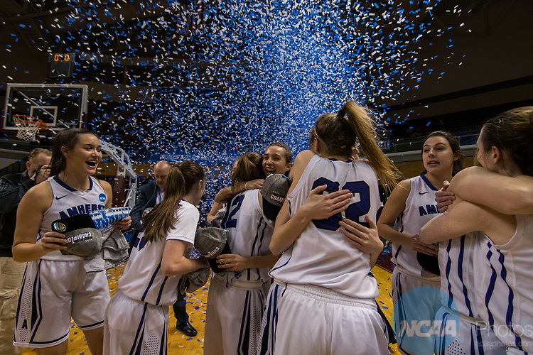 GRAND RAPIDS, MI - MARCH 18: Confetti flies for Amherst College during the Division III Women's Basketball Championship held at Van Noord Arena on March 18, 2017 in Grand Rapids, Michigan. Amherst College defeated Tufts University 52-29 for the national title. (Photo by Brady Kenniston/NCAA Photos via Getty Images)
