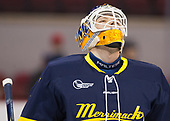 Collin Delia (Merrimack - 1) - The visiting Merrimack College Warriors defeated the Boston University Terriers 4-1 to complete a regular season sweep on Friday, January 27, 2017, at Agganis Arena in Boston, Massachusetts.The visiting Merrimack College Warriors defeated the Boston University Terriers 4-1 to complete a regular season sweep on Friday, January 27, 2017, at Agganis Arena in Boston, Massachusetts.