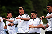 NZ Maori Under-18 players perform a haka before the rugby match between Tonga Schools and NZ Maori Under-18 at Porirua Park in Wellington, New Zealand on Friday, 6 October 2017. Photo: Dave Lintott / lintottphoto.co.nz