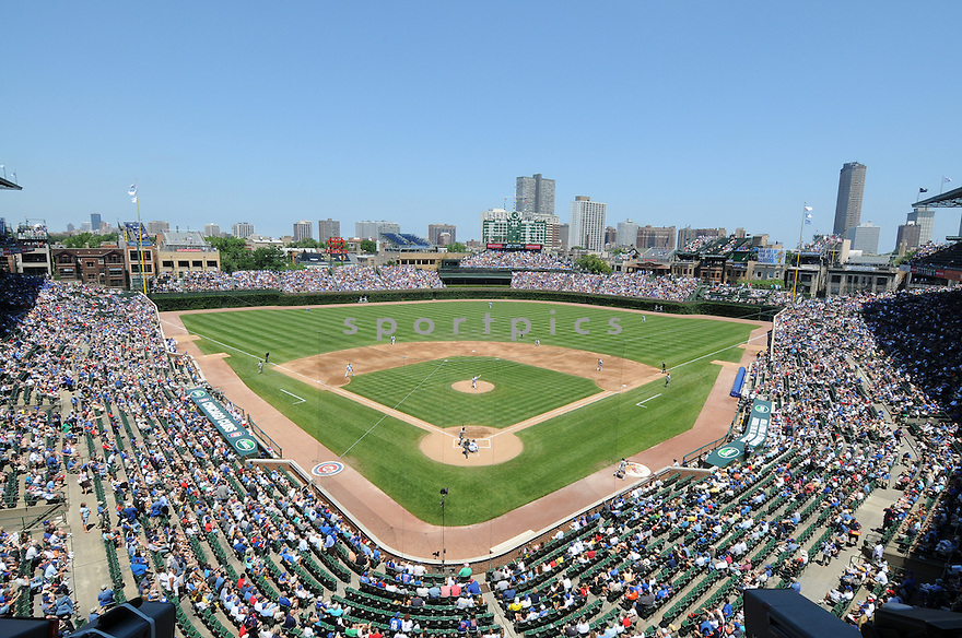 An overall view of Wrigley Field in Chicago, IL, during a game between the Chicago Cubs and the Pittsburgh Pirates on June 30, 2010. (AP Photo/Chris Bernacchi)