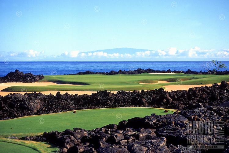 Hole No.17 at Hualalai golf course on the Big island of Hawaii